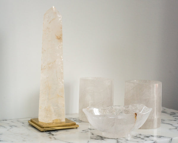 Most votives are poorly constructed. These two thickly cut Rock Crystal contemporary votives are simply, but beautifully made.