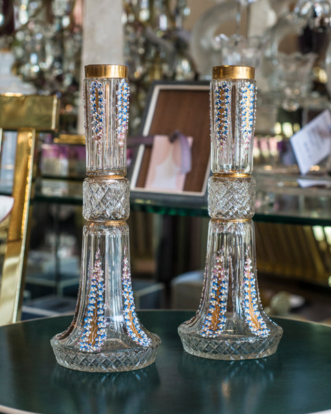ANTIQUE PAIR OF CUT CRYSTAL HANDPAINTED VASES