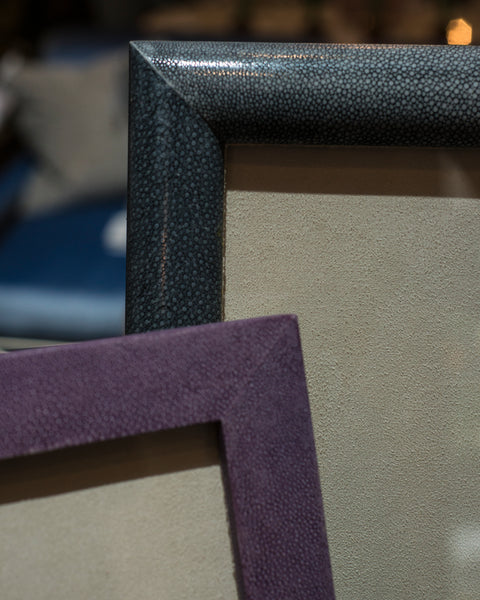 Shagreen covered picture frames detail shot