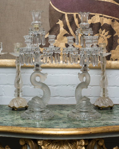 ANTIQUE PAIR OF BACCARAT CANDELABRAS