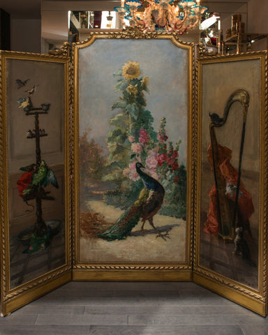 ANTIQUE PAINTED TRIPTYCH SCREEN BY CHARLES MONGINOT (1825-1900)
