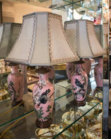 ANTIQUE JAPANESE PAIR OF PORCELAIN LAMPS WITH CUSTOM SILK SHADES