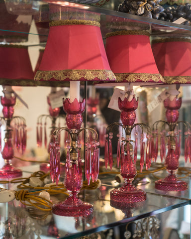 ANTIQUE ENGLISH PAIR OF CRANBERRY GLASS LAMPS WITH CUSTOM SILK SHADES