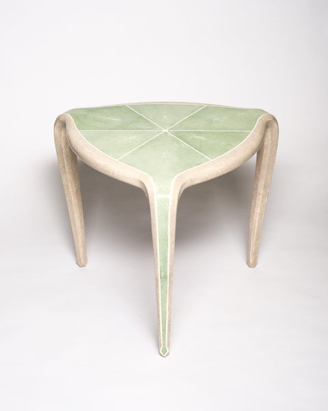 Maison Nurita is a destination for the most unusual and rare items for your home. This Tripod Table is crafted of a sycamore wood frame and completely covered in celadon green & crème Shagreen and inlaid with bone. Our tables are custom designed. Instead of traditional neutrals, Maison Nurita offers Shagreen furniture in a palette of unique colours.