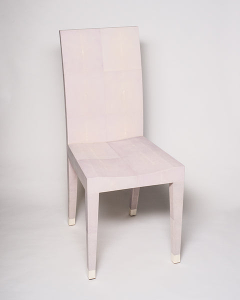 This Shagreen Chair was designed by Nurit for her own personal office. The refined tapered leg is capped with a bone toe. Working with the vendor in Asia, Nurit selected this particular shade of pale lavender. This elegant yet modern chair is well suited for a bathroom, a woman's vanity or a desk. Maison Nurita invites you to take a seat.