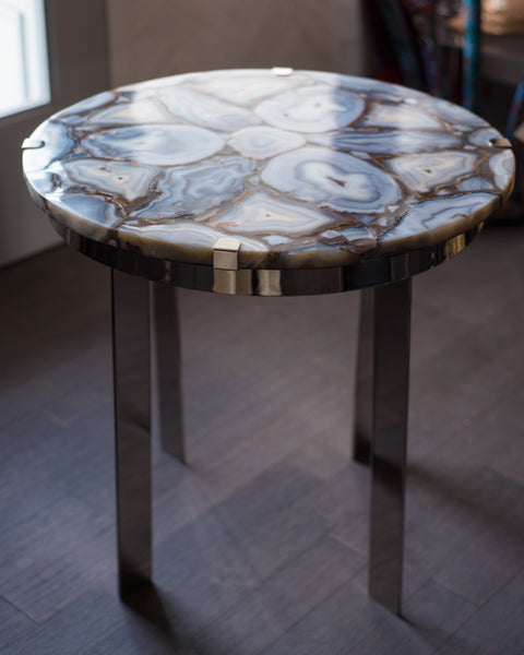 STUDIO MAISON NURITA AGATE & NICKEL TABLE