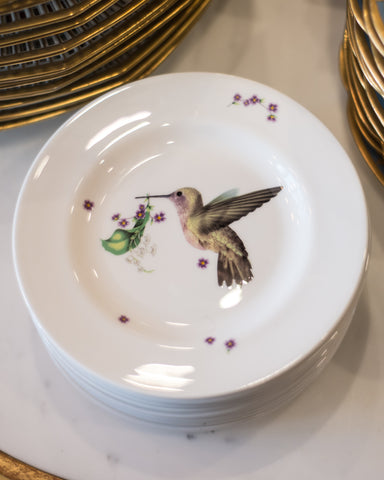 CONTEMPORARY SET OF 6 HUMMINGBIRD TEA PLATES, LOU ROTA LONDON