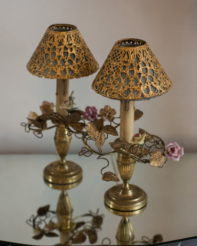 ANTIQUE FRENCH PAIR OF BRONZE LAMPS