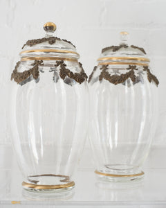 ANTIQUE PAIR OF FRENCH BRONZE AND GLASS COOKIE JARS