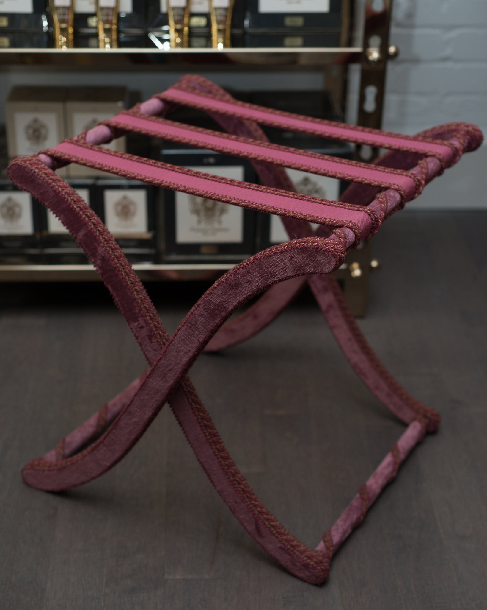 CONTEMPORARY BURGUNDY VELVET FOLDING TABLE, ROME
