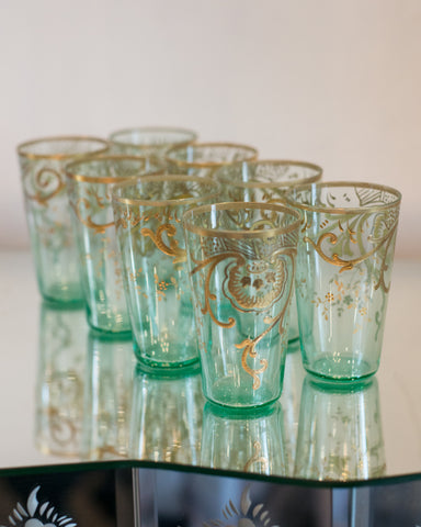 ANTIQUE SET OF 8 MOSER GREEN TEA GLASSES