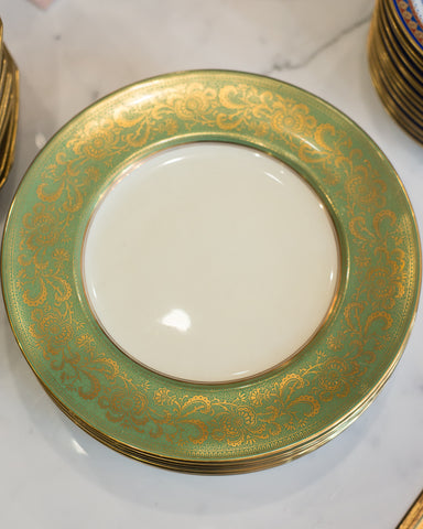 ANTIQUE SET OF 10 GREEN & GOLD DINNER PLATES