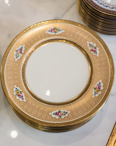 ANTIQUE SET OF 12 FLORAL & GOLD ENGLISH DISHES