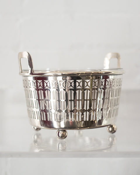 MID-CENTURY STERLING SILVER & CRYSTAL ICE BUCKET