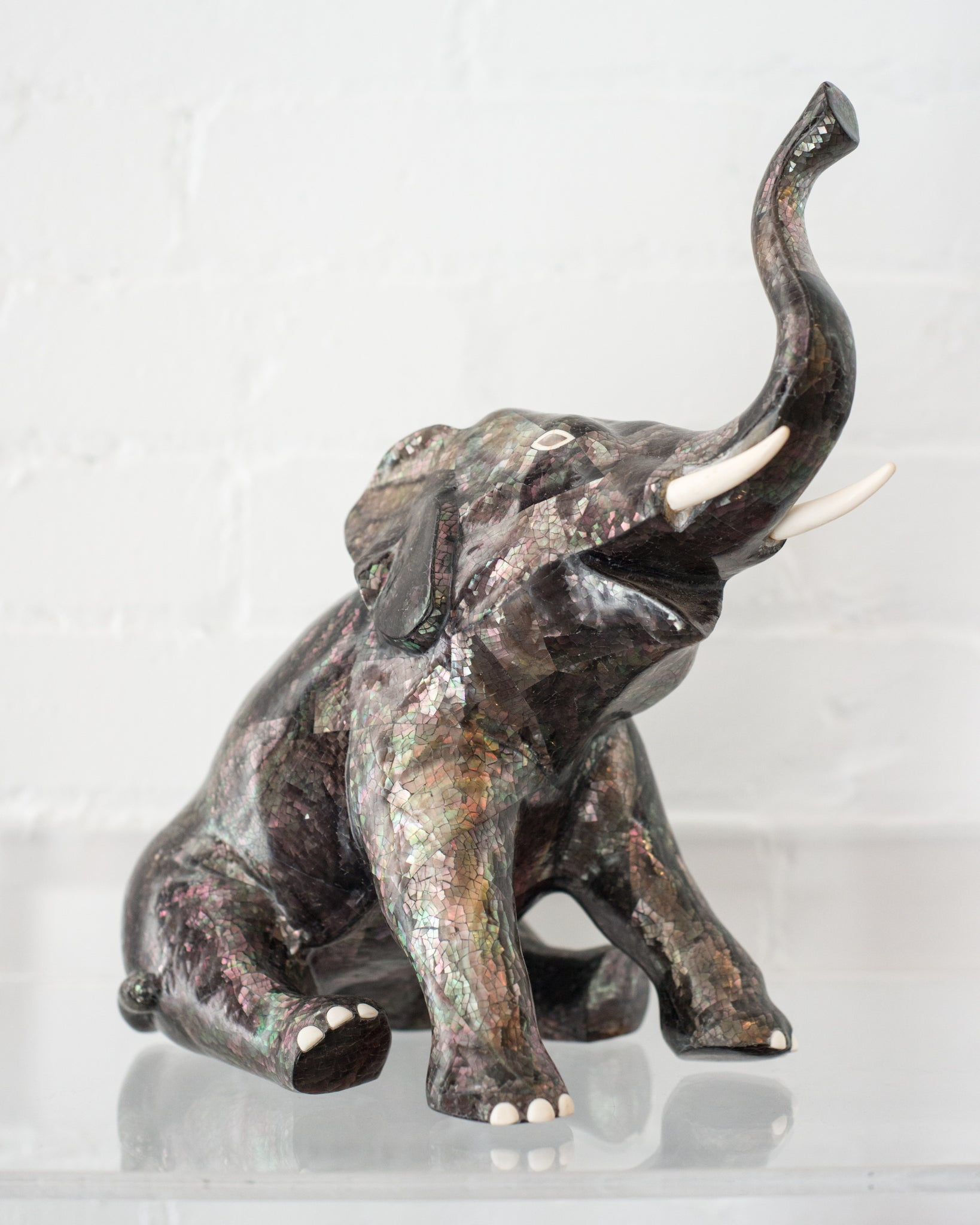 CONTEMPORARY TAHITIAN MOTHER OF PEARL & BONE ELEPHANT