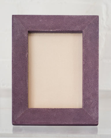 A small picture frame in lavender Shagreen & walnut, backed in suede.