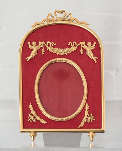 CONTEMPORARY LARGE BRONZE & RED SILK FRAME