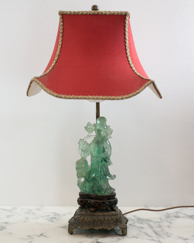 "A beautiful small Antique Chinese carved fluorite lamp on a bronze base with a custom ""Pagoda"" shade in red silk and vintage metallic trim, re-wired with a silk cord."