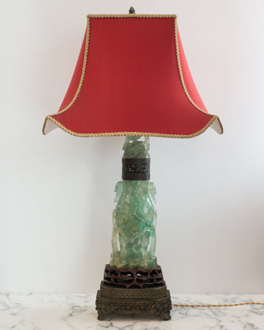 "A beautiful large Antique Chinese carved fluorite lamp on a bronze base with a custom ""Pagoda"" shade in red silk and vintage metallic trim, re-wired with a silk cord. When switched on, the carved fluorite is illuminated from the inside."