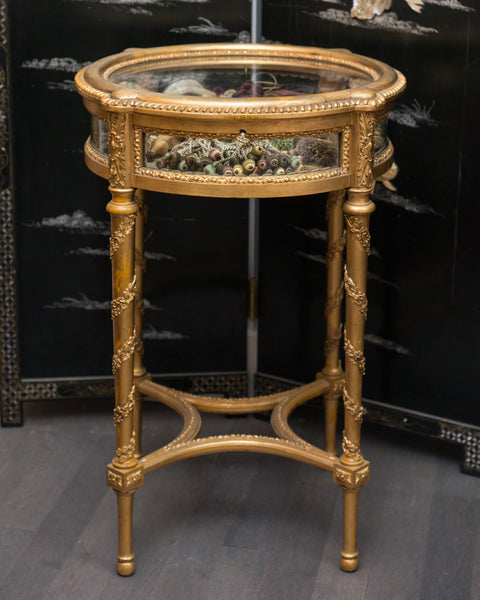 ANTIQUE FRENCH ROUND GILDED DISPLAY TABLE