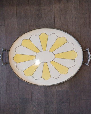ANTIQUE DUTCH YELLOW & WHITE PORCELAIN OVAL TRAY