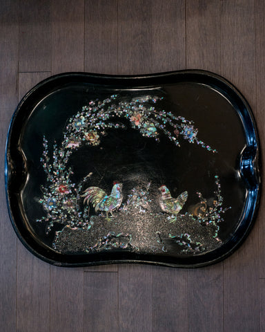 ANTIQUE DUTCH BLACK METAL TRAY WITH MOTHER OF PEARL ROOSTERS