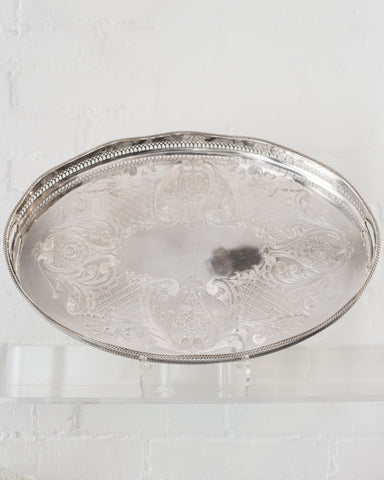 ANTIQUE LARGE SILVER PLATE OVAL TRAY WITH A GALLERY