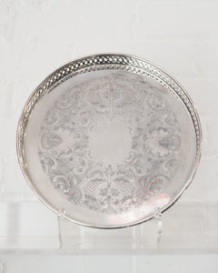 ANTIQUE SMALL SILVER PLATE TRAY WITH A GALLERY