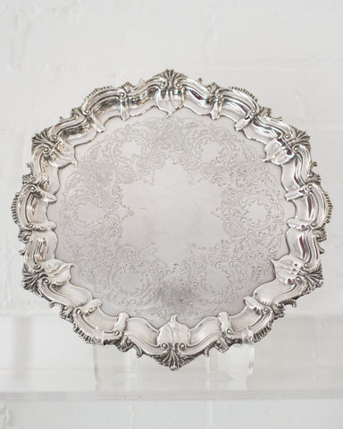ANTIQUE SMALL SILVER PLATE TRAY WITH SCALLOPED EDGE