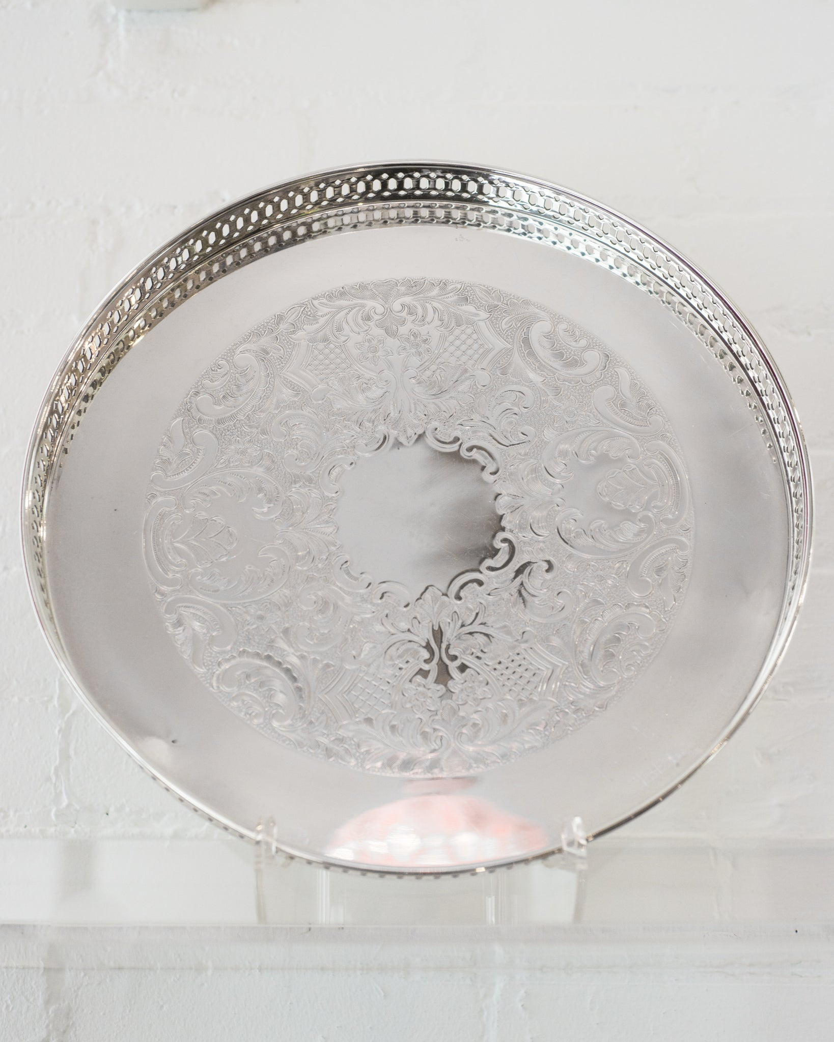 ANTIQUE SILVER PLATE TRAY WITH GALLERY