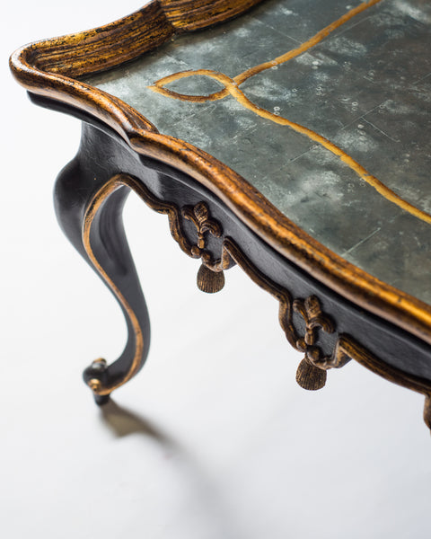 PAIR OF BLACK & GILDED COFFEE TABLES WITH EGLOMISE TOPS