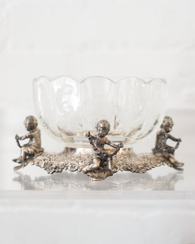 ANTIQUE GERMAN ETCHED GLASS BOWL ON A 800 GERMAN SILVER BASE