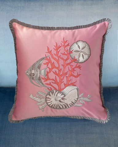 EMBROIDERED SILK SATIN PILLOW WITH SHELLS