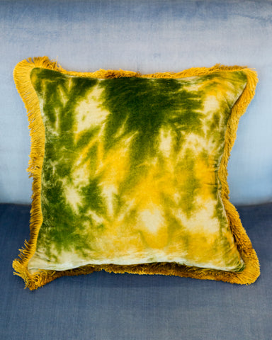 MINT SILK VELVET PILLOW WITH CITRONELLA FRINGE