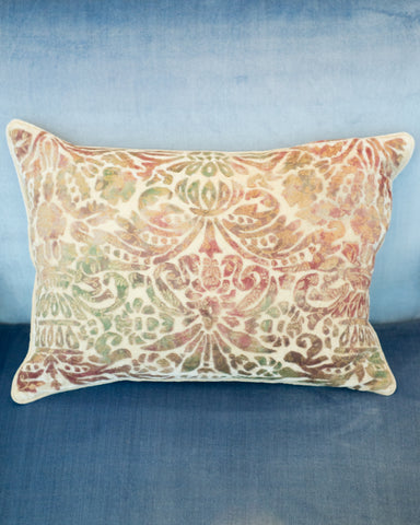 GAUFRAGE PILLOW IN IVORY WITH GREEN & RED VELVET