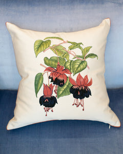 CRÈME SILK PILLOW WITH EMBROIDERED FUCHSIAS