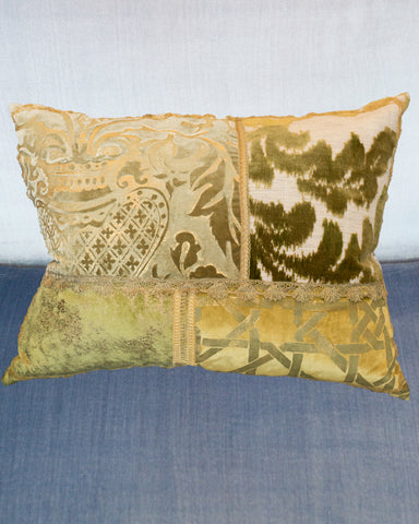 STUDIO MAISON NURITA LARGE GREEN PATCHWORK PILLOW IN A VARIETY OF SILKS AND VELVETS WITH METALLIC VINTAGE TRIMS