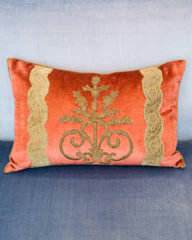 CORAL VELVET PILLOW WITH ANTIQUE OTTOMAN EMPIRE METALLIC EMBROIDERY