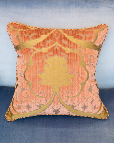 BEVILACQUA PINK & GOLD SILK VELVET PILLOW