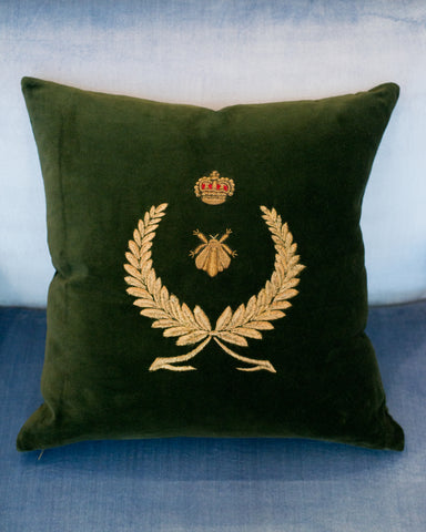 EMBROIDERED GOLD WREATH ON COTTON VELVET PILLOW WITH METALLIC GOLD BEE AND CROWN