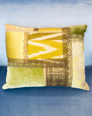 STUDIO MAISON NURITA GREEN PATCHWORK PILLOW IN A VARIETY OF SILKS AND VELVETS WITH METALLIC VINTAGE TRIMS