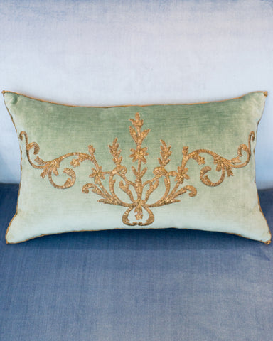 AQUA VELVET PILLOW WITH ANTIQUE OTTOMAN EMPIRE METALLIC EMBROIDERY