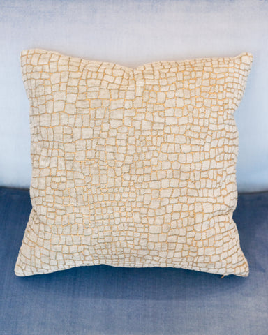 PALE GREY & GOLD CROCODILE VELVET PILLOW