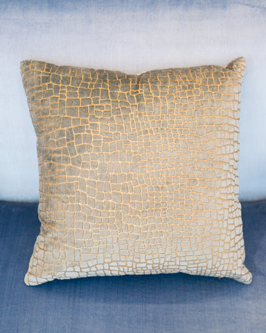 PALE BLUE & GOLD CROCODILE VELVET PILLOW