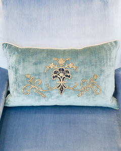 LARGE BLUE VELVET PILLOW WITH ANTIQUE METALLIC EMBROIDERY