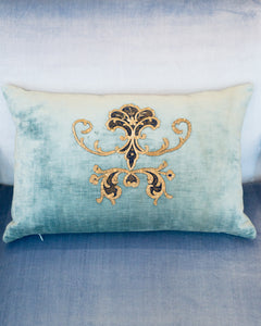 BLUE VELVET PILLOW WITH ANTIQUE METALLIC EMBROIDERY