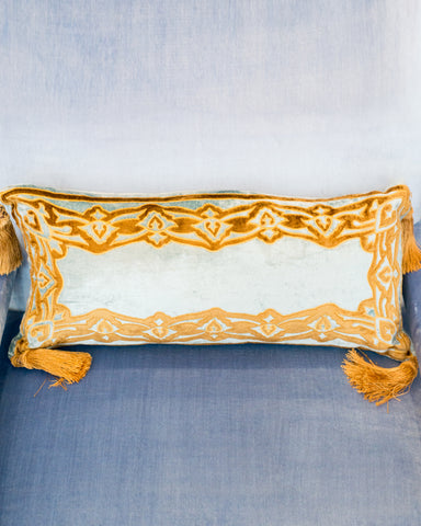 BLUE VELVET PILLOW WITH GOLD BORDER AND TASSELS