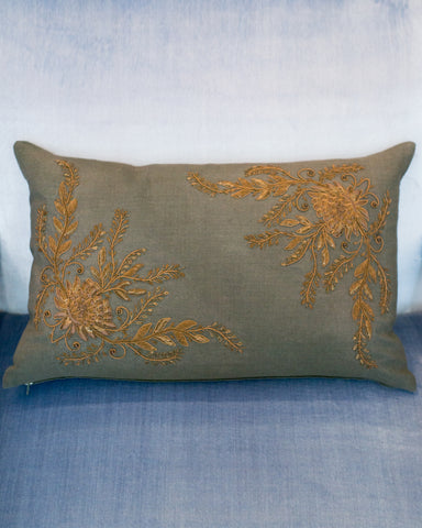 FLORAL METALLIC EMBROIDERED PILLOW ON LINEN