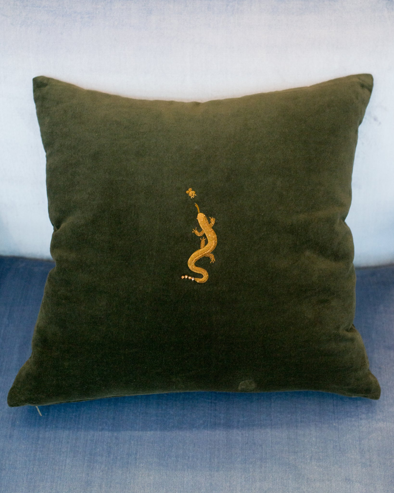 COTTON VELVET  PILLOW WITH GOLD METALLIC EMBROIDERED SALAMANDER