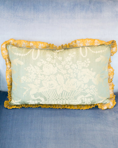 PAIR OF SILK PILLOWS WITH VINTAGE METALLIC LACE TRIM